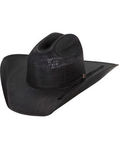 Justin Men's Cutter 20X Straw Cowboy Hat, Black, hi-res