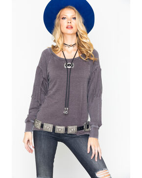 Ariat Women's Aurora Fringe Ribbed Long Sleeve Top, Heather Grey, hi-res