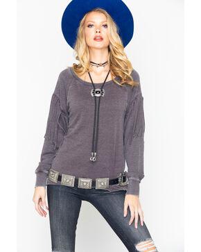 Ariat Women's Aurora Fringe Ribbed Long Sleeve Top, Heather Grey, hi-res