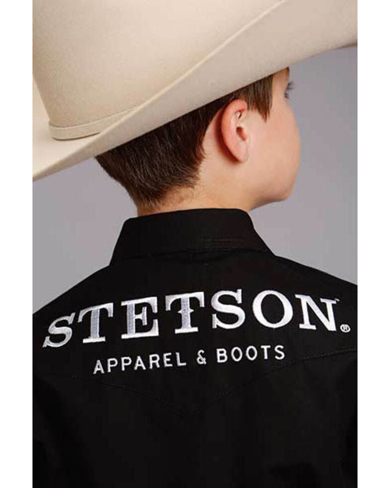Stetson Boys' Blue Logo Wear Long Sleeve Western Shirt , Black, hi-res
