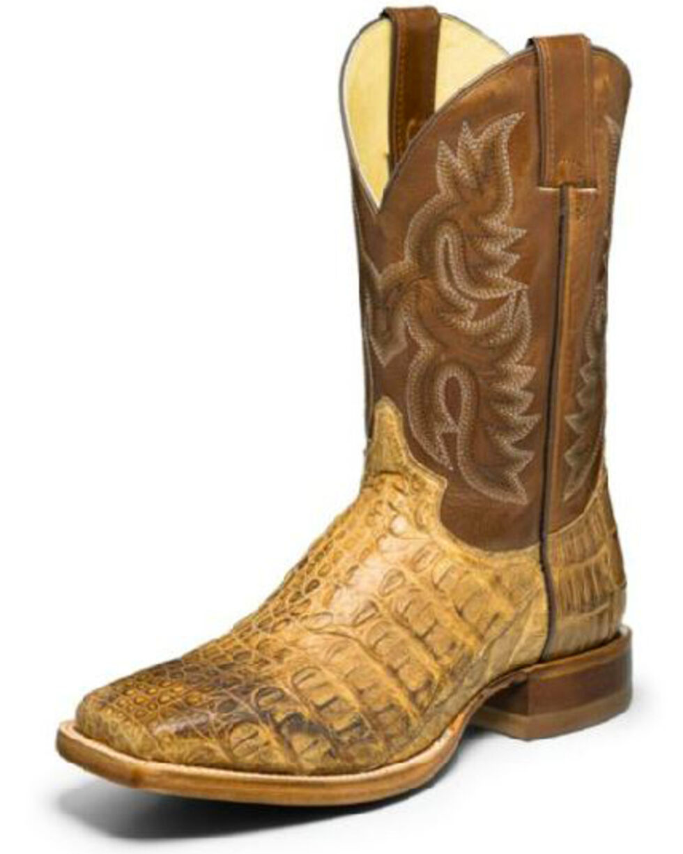 Justin Men's Desert Caiman Leather Western Boots - Wide Square Toe, Brown, hi-res