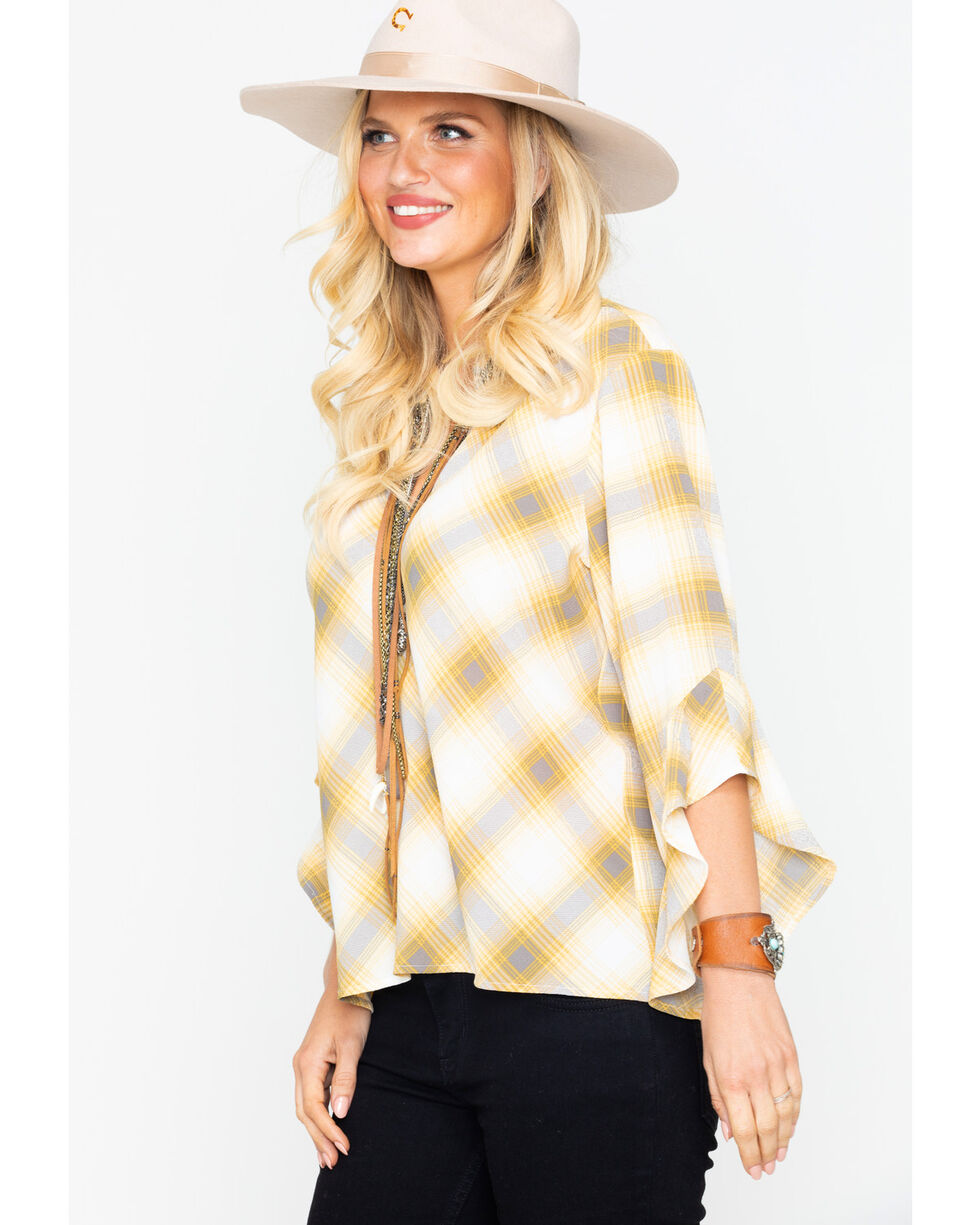 Tempted Apparel Women's Plaid Long Sleeve Keyhold Top , Dark Yellow, hi-res