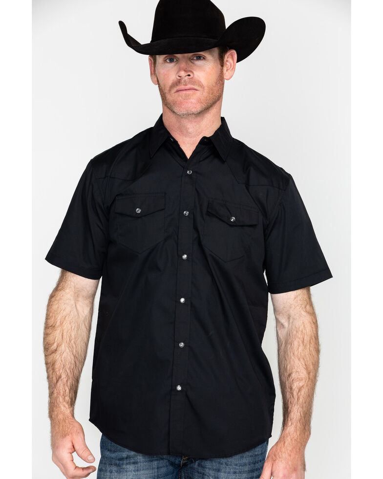 Gibson Men's Black Solid Short Sleeve Western Shirt - Big, Black, hi-res
