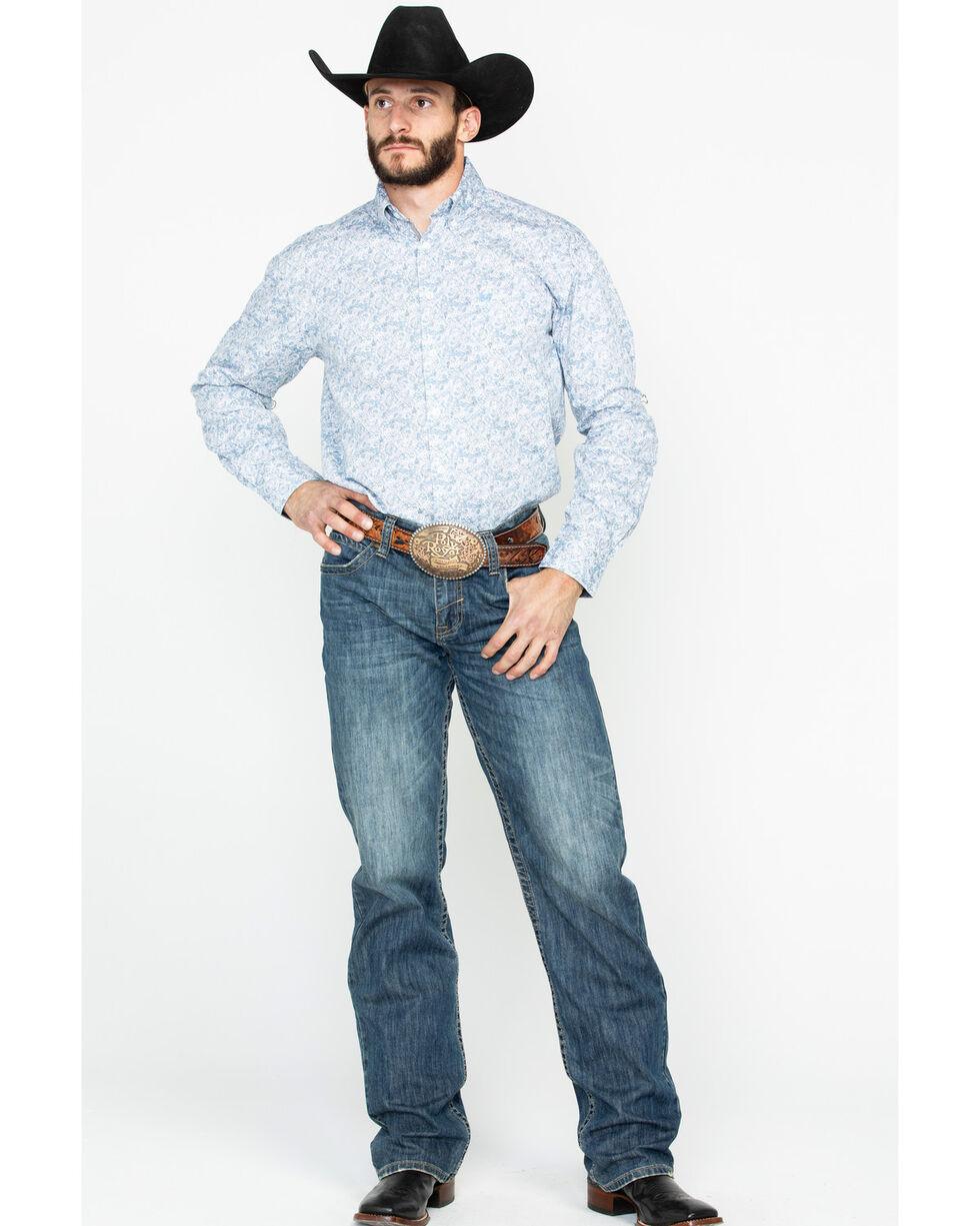 Panhandle Men's Rough Stock Corsico Vintage Print Long Sleeve Western Shirt , Grey, hi-res