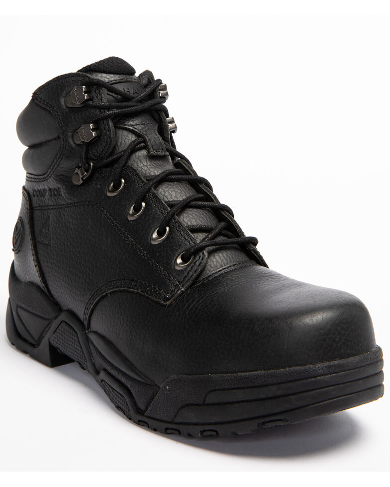 Hawx Men's Enforcer Black Lace-Up Work Boots - Composite Toe, Black, hi-res