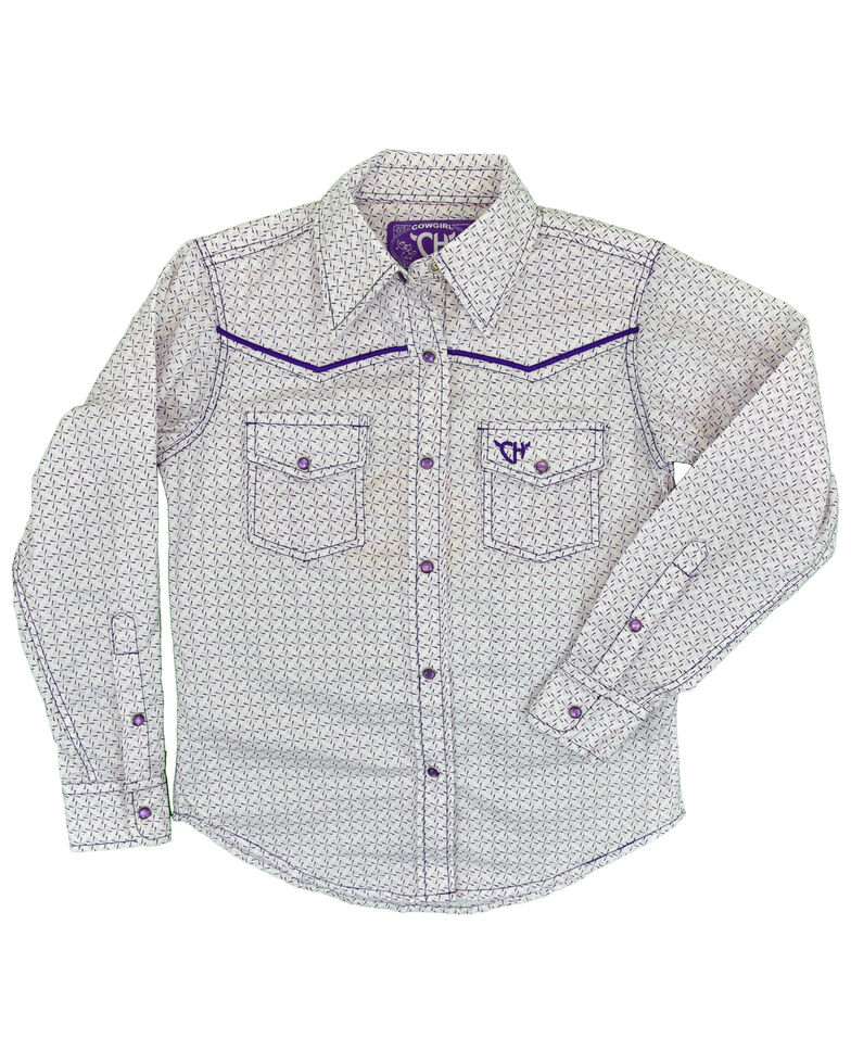 Cowgirl Hardware Girls' Purple Geo Print Embroidered Horse Long Sleeve Snap Western Shirt , Purple, hi-res