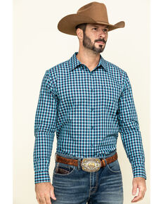 Gibson Men's High Roller Small Plaid Long Sleeve Western Shirt , Blue, hi-res