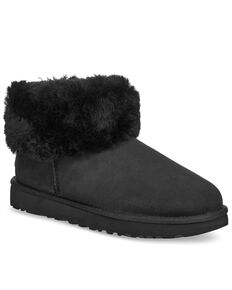UGG Women's Clasic Mini Fluff Boots - Round Toe, Black, hi-res