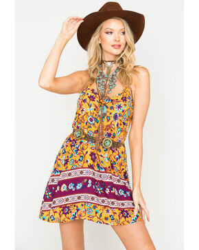 Shyanne Women's Floral Printed Spaghetti Strap Dress , Dark Yellow, hi-res