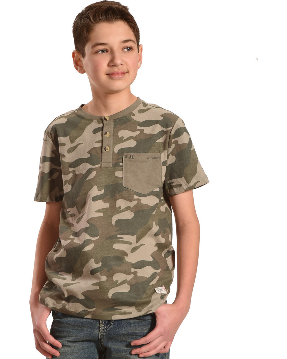 Silver Boys' Army Camo Short Sleeve Henley Tee, Green, hi-res
