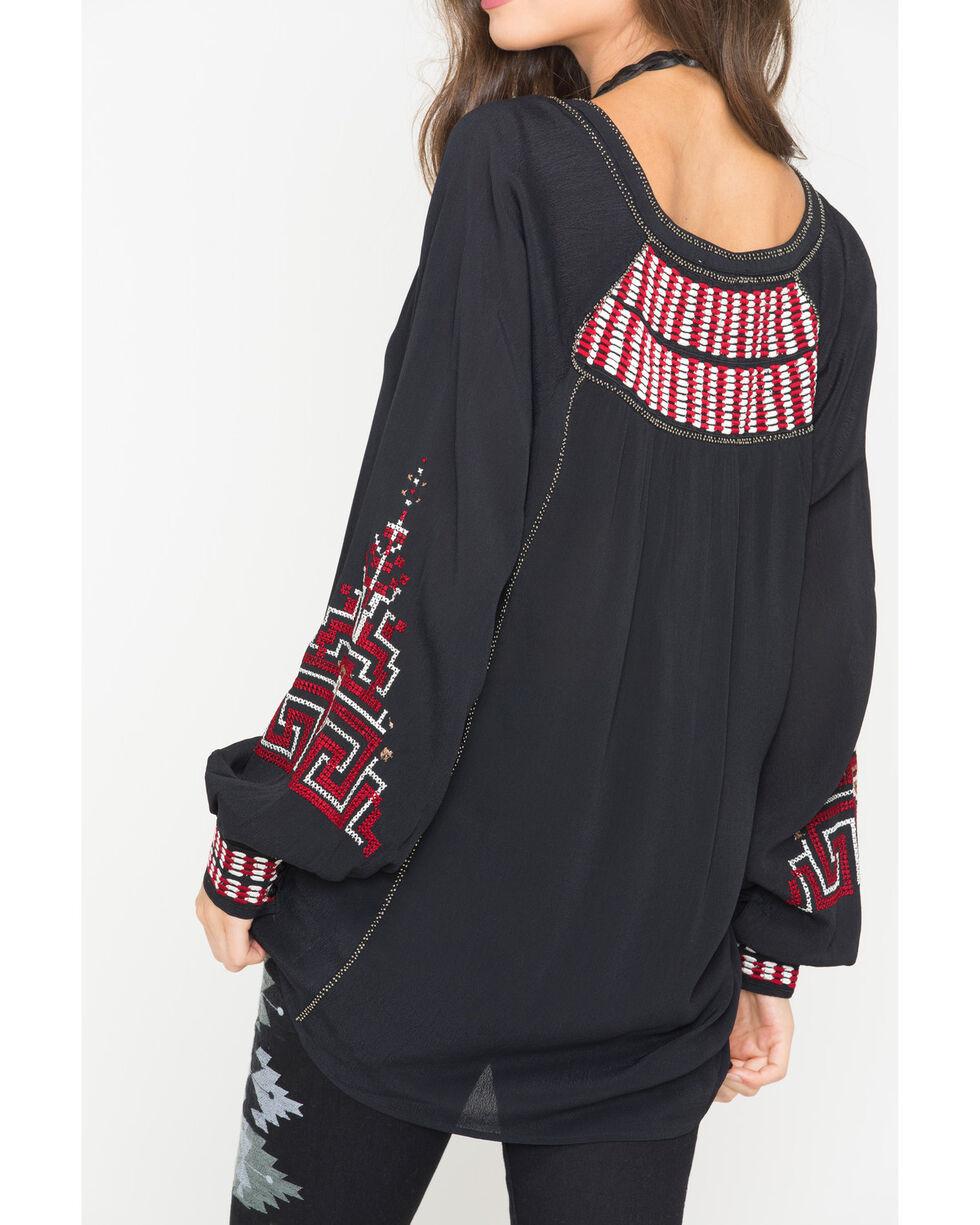 MM Vintage Women's Black Empress Embroidered Blouse , Black, hi-res