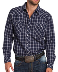 Resistol Men's Marbleton Plaid Long Sleeve Shirt, Navy, hi-res