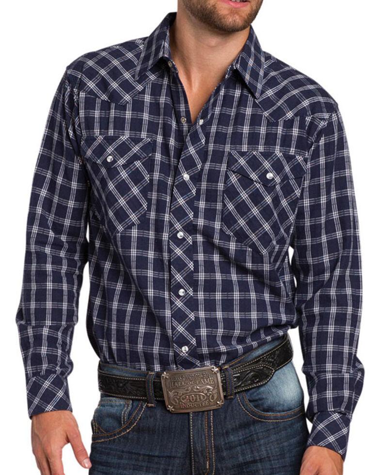 Resistol Men's Marbleton Plaid Long Sleeve Shirt, Navy, hi-res