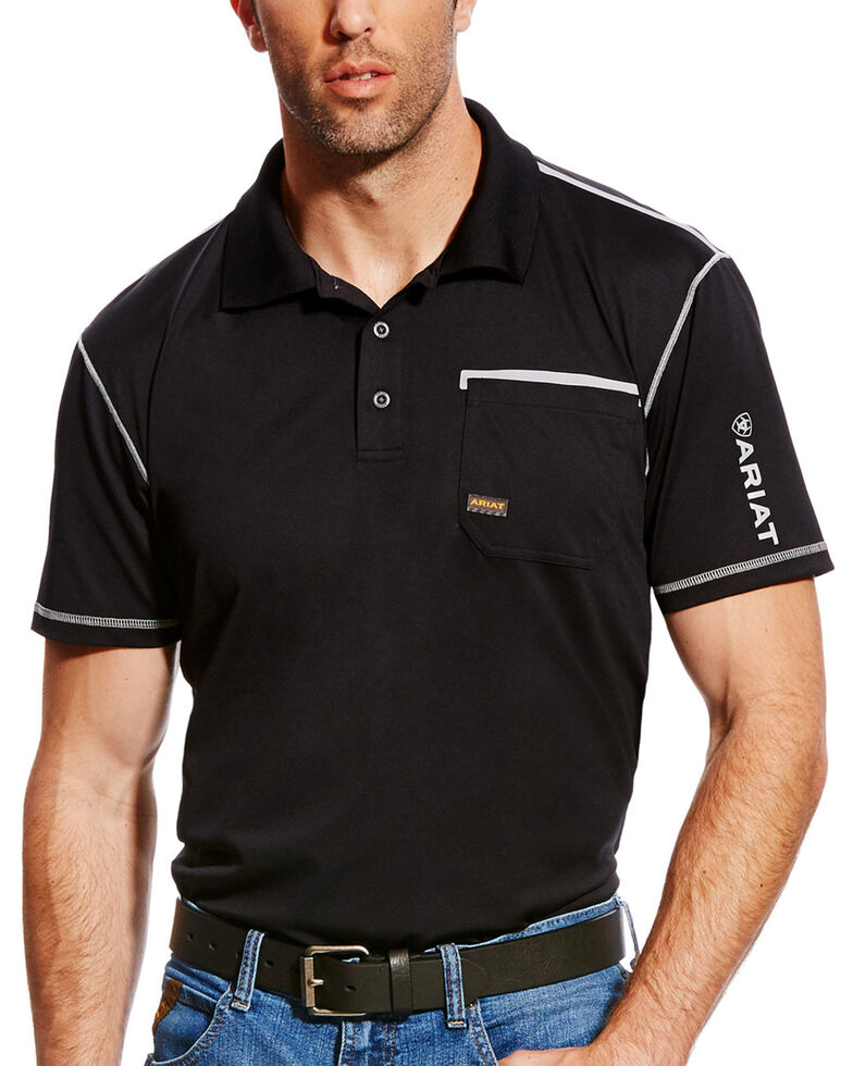 Ariat Men's Rebar Freeze Point Short Sleeve Polo Work Shirt , Black, hi-res