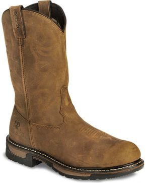 Rocky Men's Branson Saddle Steel Toe Roper Work Boots, Crazyhorse, hi-res