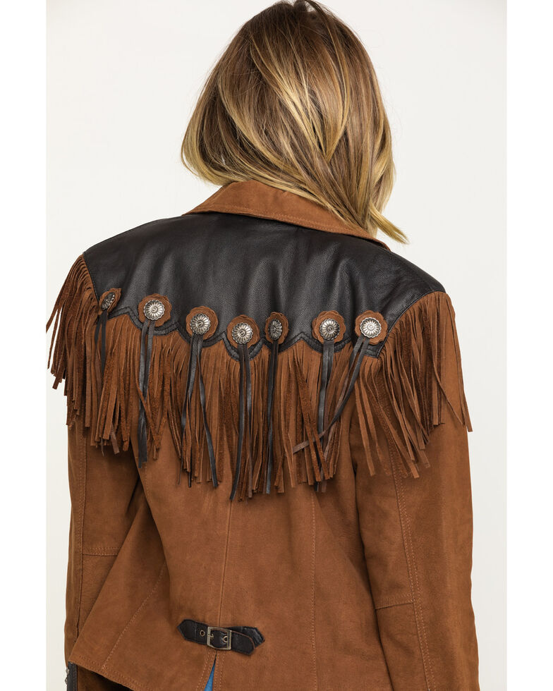 Cripple Creek Women's Hand-Sanded Two-Tone Snap Concho Fringe Leather Jacket , , hi-res
