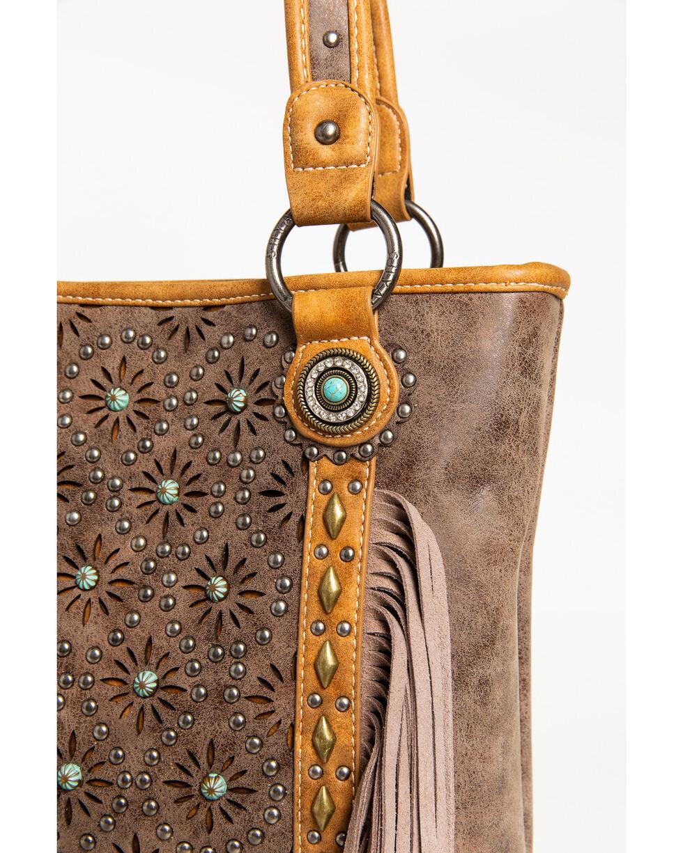 Shyanne Women's Patina Stud Fringe Concealed Carry Tote, Brown, hi-res