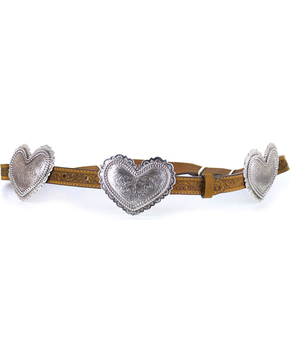 Justin Women's Filigree Heart Belt , Brown, hi-res