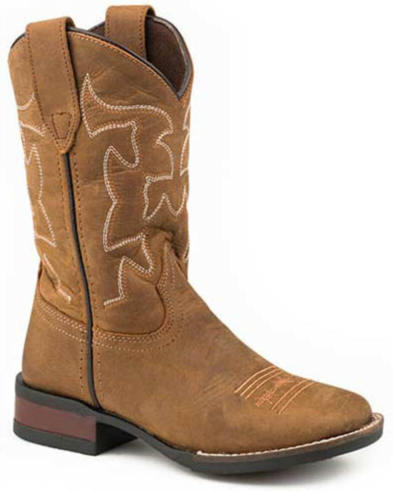 Roper Boys' Crazy Horse Western Boots - Square Toe, Brown, hi-res