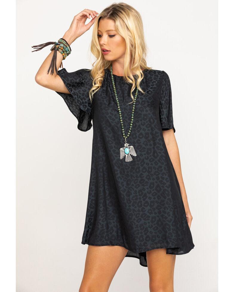 Show Me Your Mumu Women's Charcoal Silky Jenner Cheetah Dress, Black, hi-res