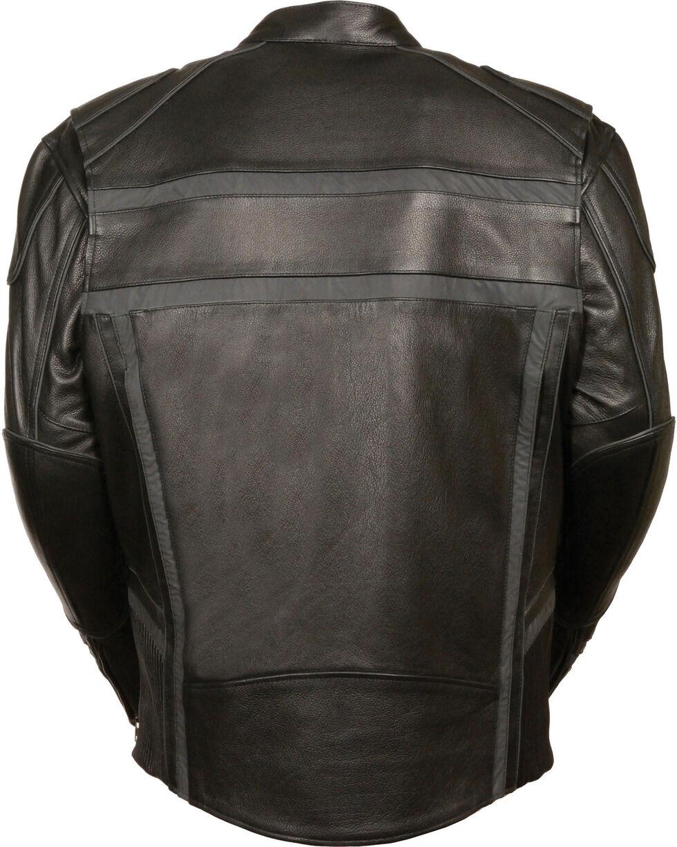 Milwaukee Leather Men's Black Reflective Band Scooter Jacket - Big 3X, Black, hi-res