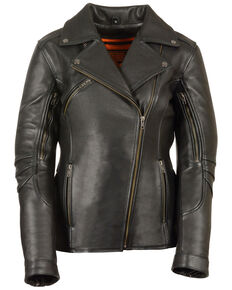 Milwaukee Leather Women's Long Length Vented Biker Leather Jacket - 4X, Black, hi-res