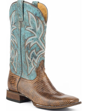 Roper Men's Leather Embossed Teju Lizard Cowboy Boots - Square Toe, Tan, hi-res