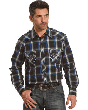 Ely 1878 Men's Accent Stitching Textured Plaid Long Sleeve Shirt, Black, hi-res