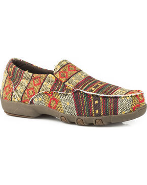 Roper Women's Johnnie Multicolor Tan Aztec Driving Mocs - Moc Toe, Brown, hi-res