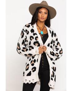 Very J Women's Cream Leopard Cardigan, Cream, hi-res