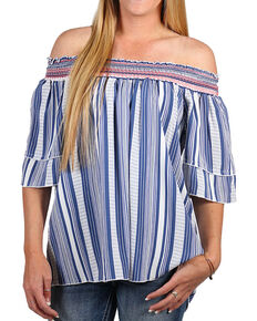 Tempted Women's Keyhole Off The Shoulder Top , Blue, hi-res