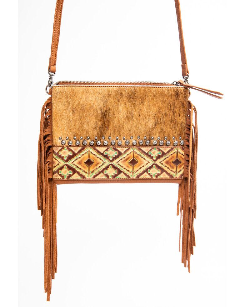 Shyanne Women's Bryndle Hair On Crossbody Leather Handbag, Coffee, hi-res
