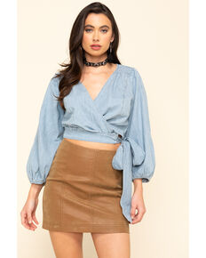 Free People Women's Sophie Denim Wrap Top , Blue, hi-res