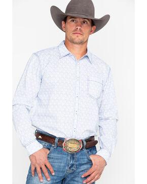 Gibson Men's Wildflower Geo Print Long Sleeve Western Shirt , Navy, hi-res