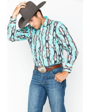 Wrangler Men's Checotah Print Long Sleeve Western Shirt , Aqua, hi-res
