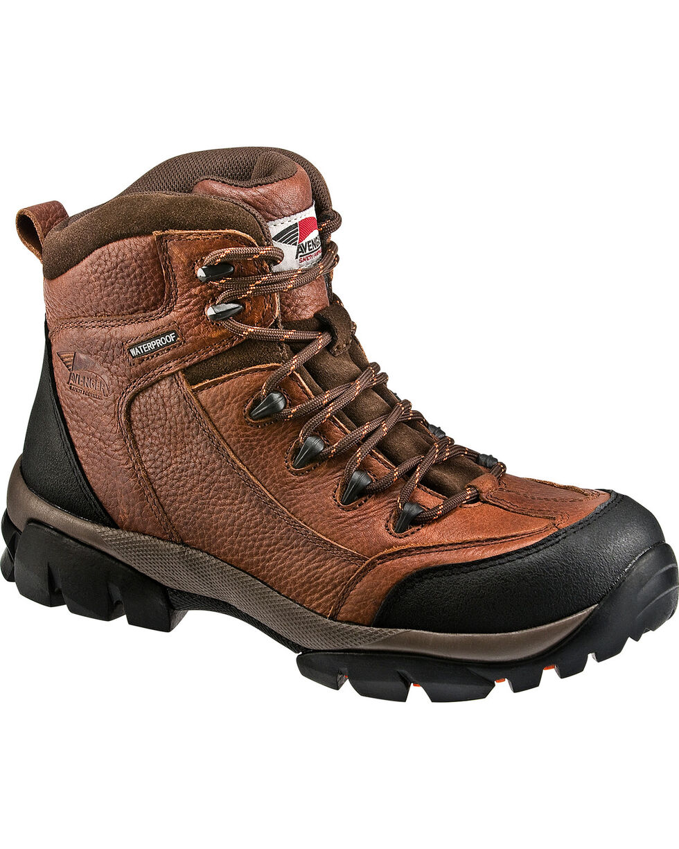 Avenger Men's No Exposed Metal Lace Up Work Boots, Brown, hi-res