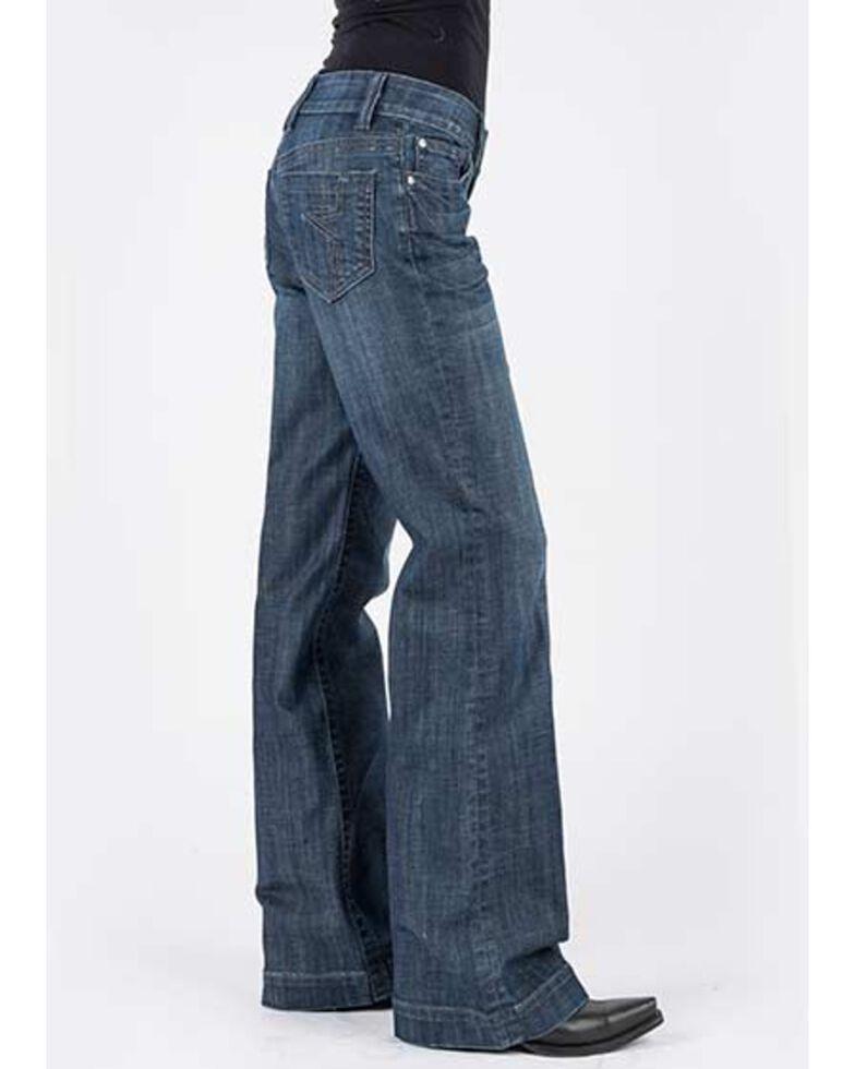 Stetson Women's 214 Dark Wash Decorative City Trousers , Blue, hi-res