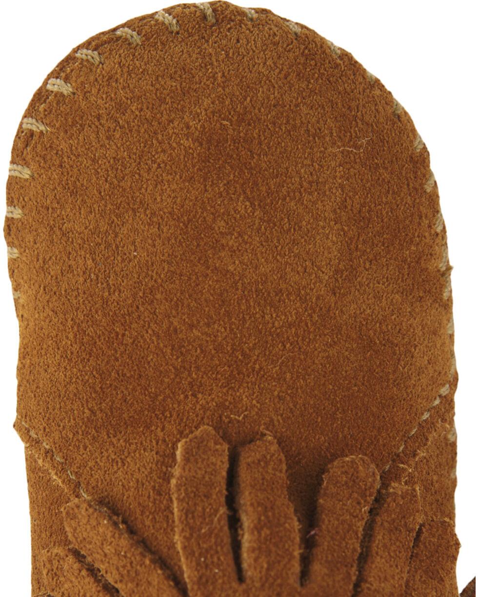 Minnetonka Infant's Back Flap Booties, Brown, hi-res