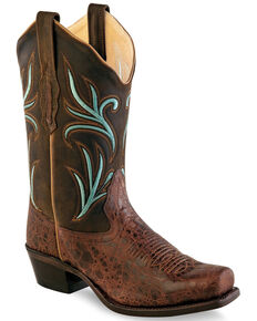 Old West Women's Brown Embroidered Blue Western Boots - Medium Square Toe, Brown, hi-res