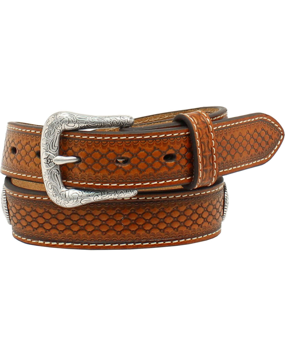 Ariat Boys' Beaded Basketweave Belt, Natural, hi-res