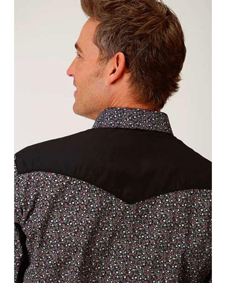 Roper Men's Russet Floral Print Long Sleeve Western Shirt , Black, hi-res