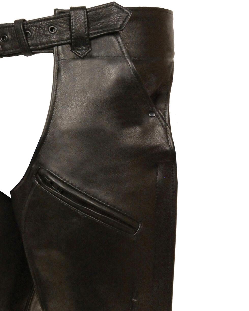 Milwaukee Leather Men's 3 Pocket Leather Chaps - 4X, Black, hi-res