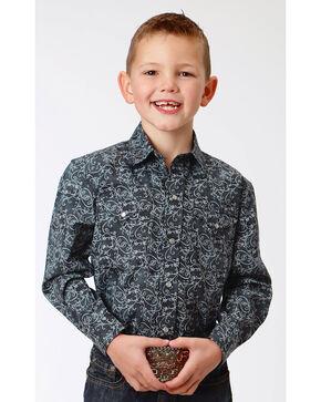 Roper Boys' Black Paisley Print Western Shirt , Black, hi-res