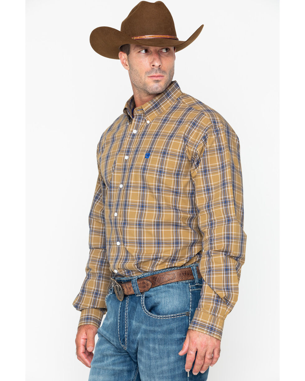Cinch Men's Tan Long Sleeve Plaid Western Shirt , Tan, hi-res