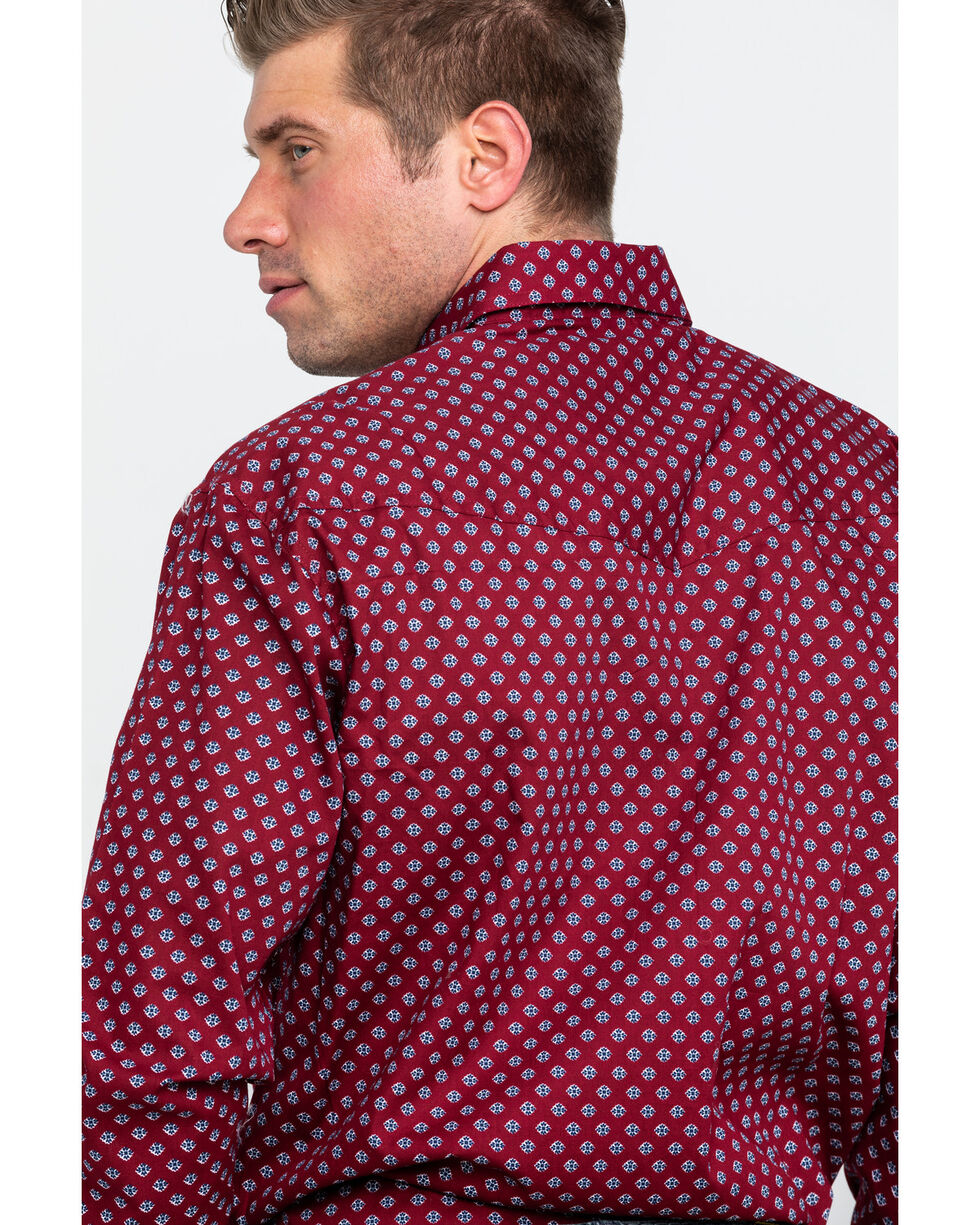 Roper Men's Burgundy Amarillo Small Geo Print Long Sleeve Western Shirt , Burgundy, hi-res