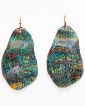 Shyanne Women's Turquoise Painted Abstract Hole Earrings, Turquoise, hi-res
