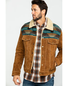 Scully Men's Cafe Brown Boar Suede Jean Jacket, Brown, hi-res