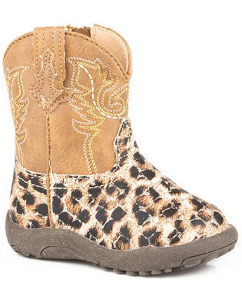Roper Infant Girls' Glitter Leopard Poppet Boots - Round Toe, Tan, hi-res