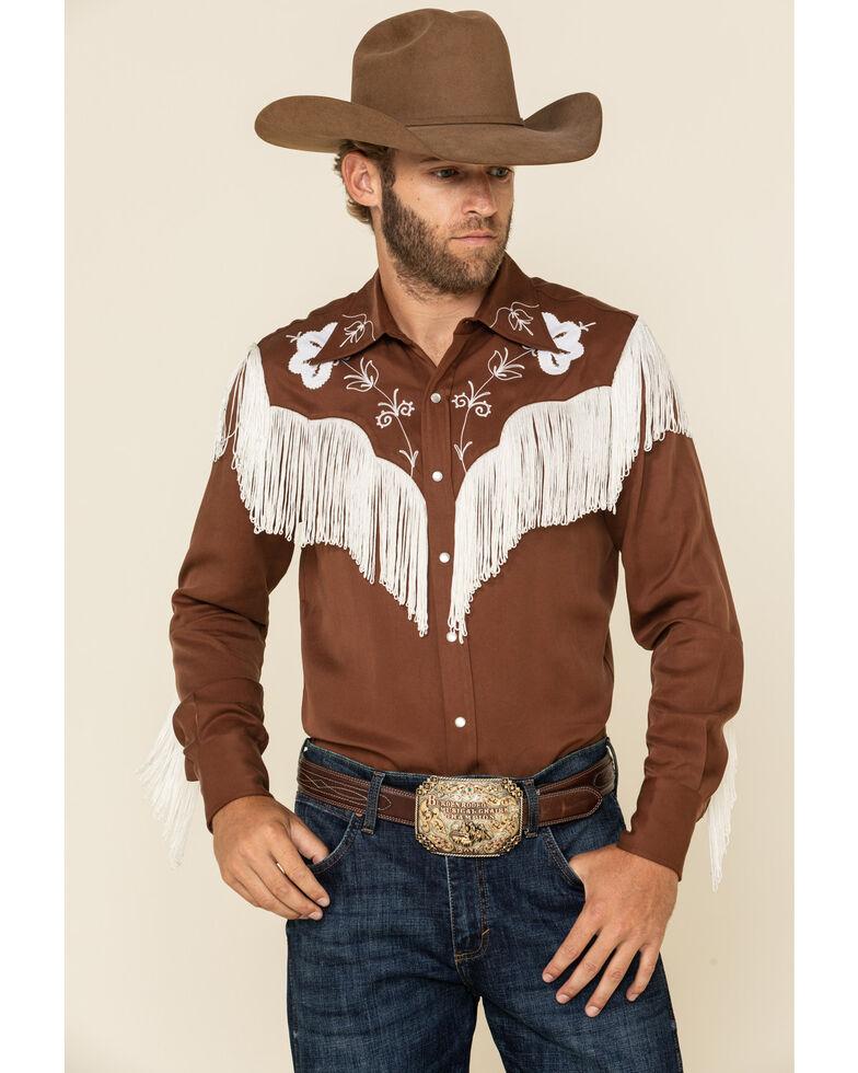 Hbarc Ranchwear Men's Brown Taos Long Sleeve Western Shirt , Brown, hi-res