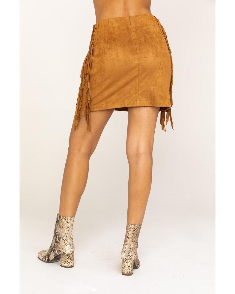 Flying Tomato Women's Camel Fringe Mini Skirt, Camel, hi-res